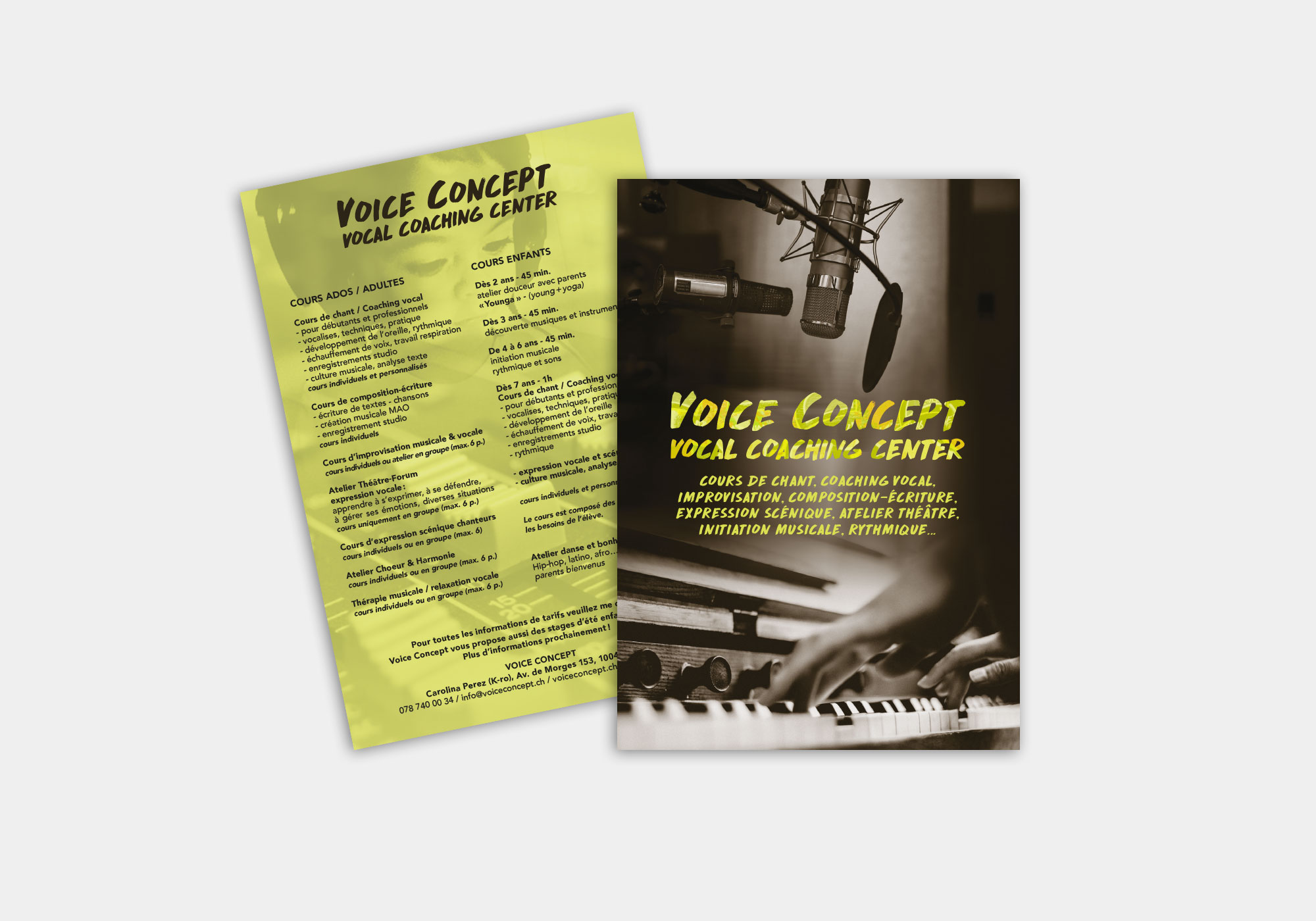 Flyer Voice Concept, cours adultes et enfants de chant et coching vocal, Lausanne